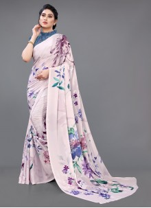 Multi Colour Georgette Satin Saree For Ceremonial
