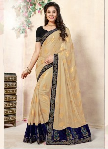 Beige and Blue Designer Saree For Festival