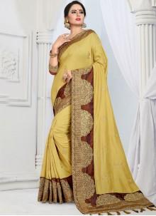 Yellow Silk Designer Saree For Festival