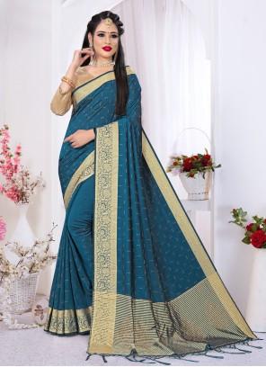 Designer Blue Saree For Festival