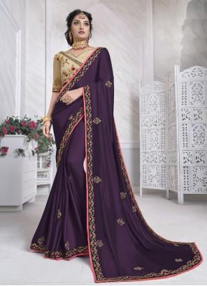 Purple Designer Saree For Festival
