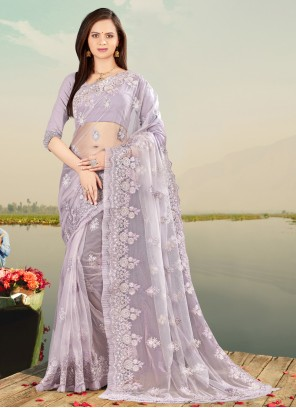 Lavender Net Designer Saree For Festival