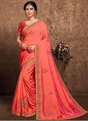 Pink Patch Border Designer Saree For Festival