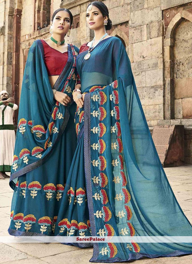 Blue Designer Saree For Festival