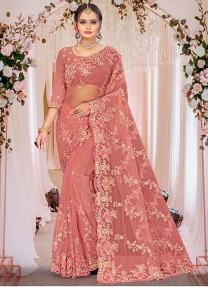 Pink Designer Saree For Mehndi