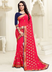 Hot Pink Georgette Embroidered Saree For Party