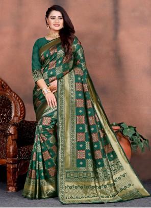 Teal Silk Designer Saree For Party