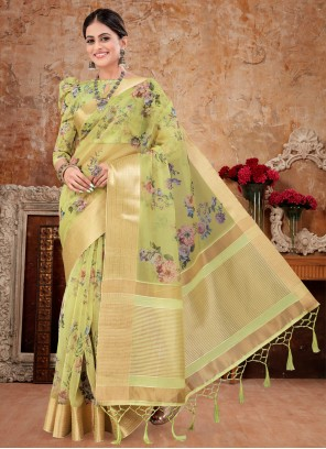 Designer Pista Green Saree For Party