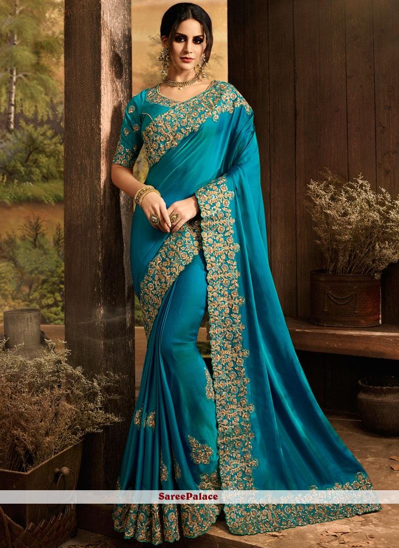 22f66835a8 Buy Teal Art Silk Designer Saree For Sangeet Online