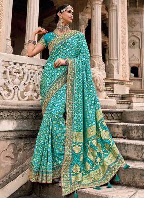 Aqua Blue Designer Saree For Wedding