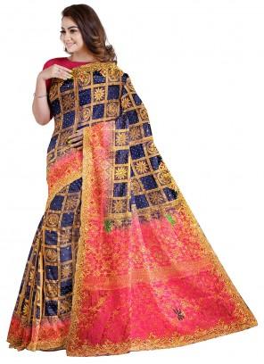 Designer Saree Handwork Kanjivaram Silk in Blue
