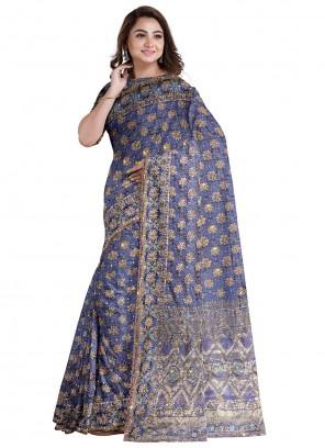 Designer Saree Handwork Kanjivaram Silk in Grey