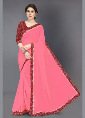 Designer Saree Mirror Faux Chiffon in Pink
