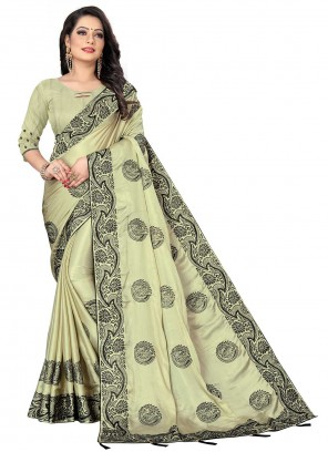 Designer Saree Patch Border Fancy Fabric in Green