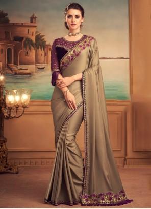 Designer Saree Patch Border Silk in Beige