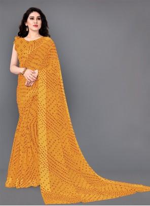 Designer Saree Print Cotton in Yellow