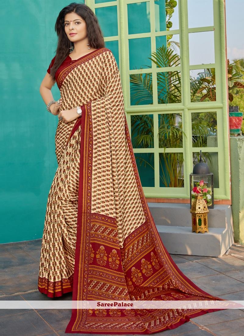 Designer Saree Printed Crepe Silk in Beige