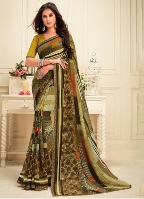 Designer Saree Printed Georgette in Green