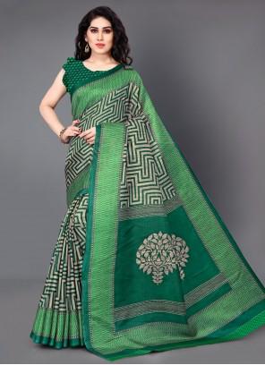 Designer Saree Printed Silk in Green