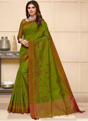 Designer Saree Resham Cotton Silk in Green