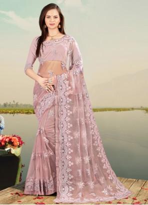 Designer Saree Resham Net in Lavender
