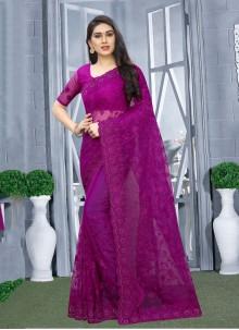 Designer Saree Resham Net in Purple