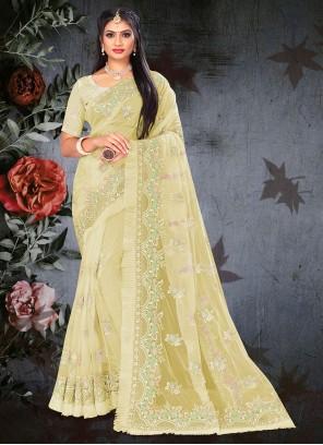 Designer Saree Resham Net in Yellow