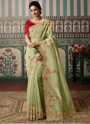 Designer Saree Resham Silk in Green