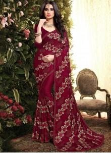 Designer Saree Resham Silk in Maroon