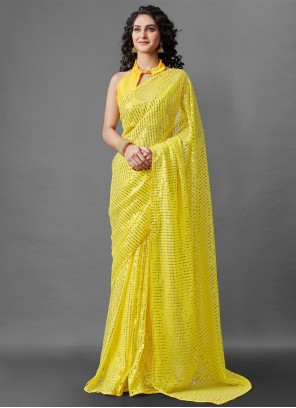 Designer Saree Sequins Faux Georgette in Yellow