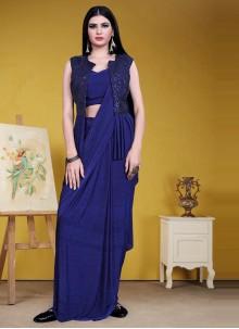 Designer Saree Sequins Lycra in Blue