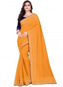 Designer Saree Stone Art Silk in Orange