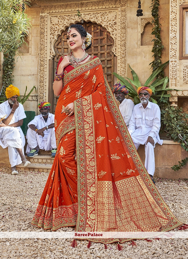 Designer Saree Thread Jacquard Silk in Orange