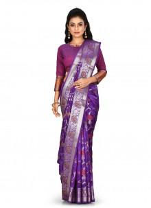 Designer Saree Weaving Banarasi Silk in Purple