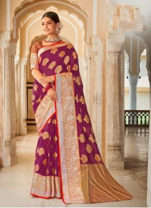 Designer Saree Weaving Organza in Purple