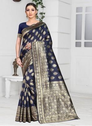 Designer Saree Weaving Silk in Navy Blue