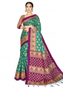 Designer Saree Weaving Silk in Sea Green