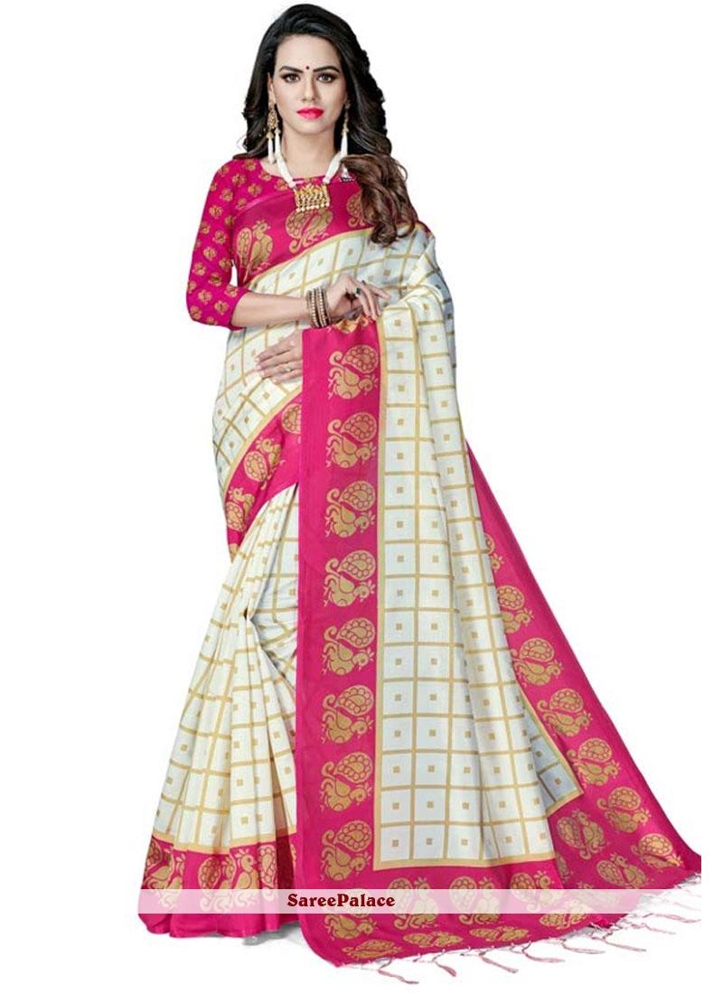 Designer Saree Weaving Silk in White