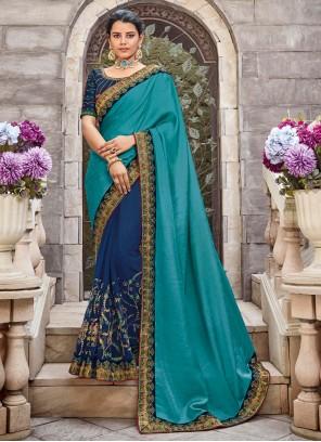 Designer Saree Zari Georgette Satin in Blue