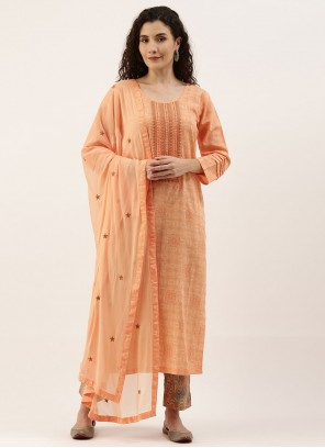 Designer Straight Suit Embroidered Cotton in Peach