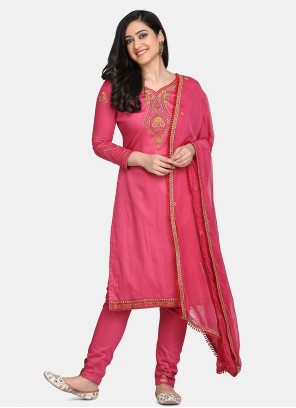Designer Straight Suit Embroidered Cotton in Pink