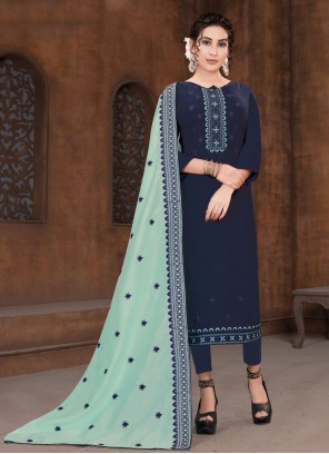 Designer Straight Suit Embroidered Viscose in Navy Blue