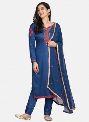 Blue Designer Straight Suit For Festival