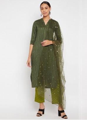 Green Designer Straight Suit For Festival