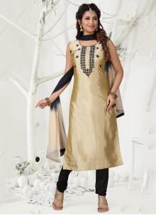 Cream Designer Straight Suit For Reception
