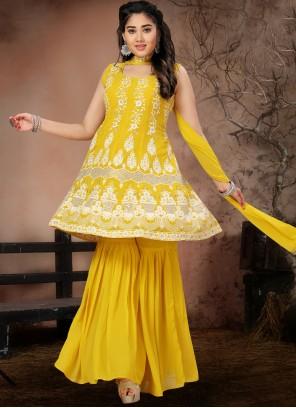Designer Suit Fancy Georgette in Yellow
