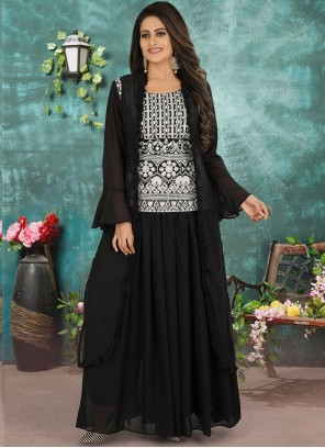 Black Georgette Designer Suit For Party