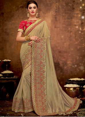 Designer Traditional Saree Embroidered Art Silk in Brown