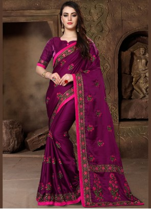 Designer Traditional Saree Embroidered Art Silk in Magenta