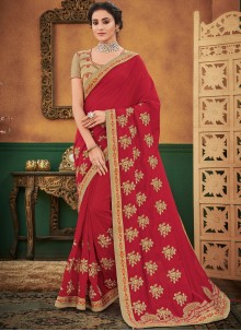 Designer Traditional Saree Embroidered Art Silk in Maroon